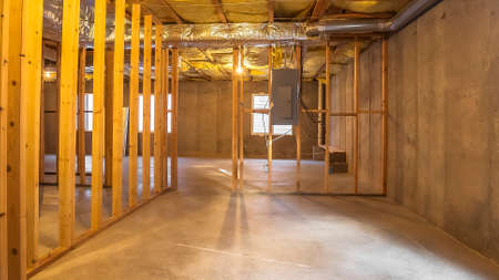 Panorama Building interior under construction with an electrical circuit breaker panel