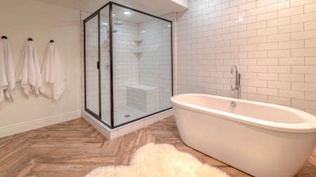 Panorama frame Contemporary bathroom with free standing bath tub