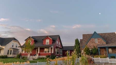 Panorama frame Three houses on a modern housing estate