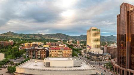 Panorama frame Scenic panorama of downtown Salt Lake City