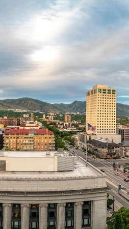 Vertical Scenic panorama of downtown Salt Lake City Stock Photo