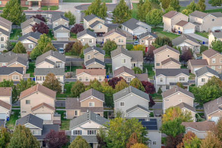 Housing estate in Utah Valley, America seen from above
