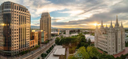 Panorama view of Salt lake City at sunset