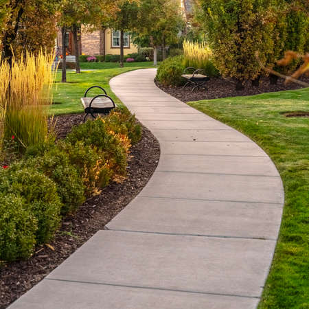 Square Paved walkway through a landscaped garden day