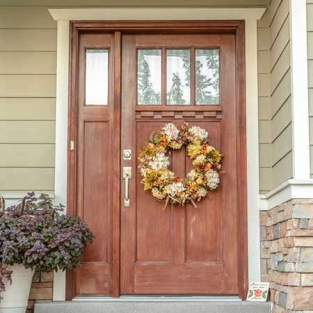 Square Front door with dried flower wreath day