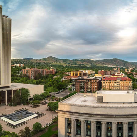 Square Scenic panorama of downtown Salt Lake City