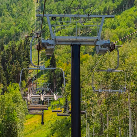 Square Chairlifts over abundant green trees and hiking trails during off season months