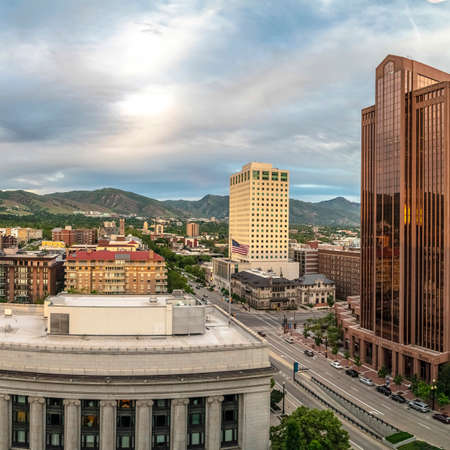 Square frame Scenic panorama of downtown Salt Lake City