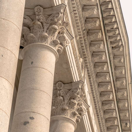 Square frame Beautiful Corinthian style stone columns of the Utah State Capitol Building Foto de archivo