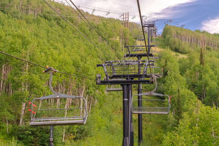 Chairlifts on cables over ski mountain with thick green trees during off season Zdjęcie Seryjne