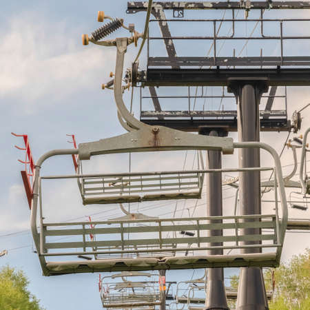 Square frame Off season in Park City Utah with chairlifts and trails on a mountain landscape