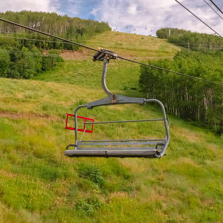 Square Summer landscape of ski resort in Park City Utah with chairlifts and trails Zdjęcie Seryjne