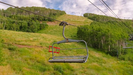 Panorama frame Summer landscape of ski resort in Park City Utah with chairlifts and trails Zdjęcie Seryjne