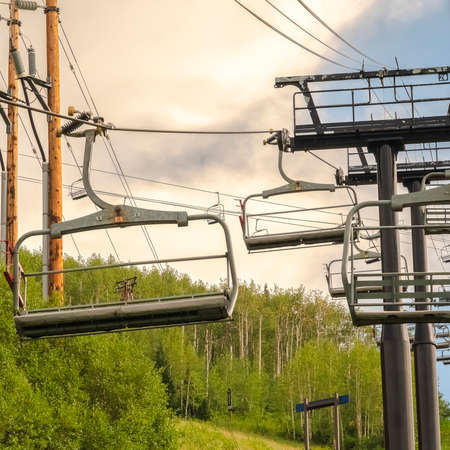 Square frame Hiking trails and chairlifts on a sceneic summer landscape in Park City Utah