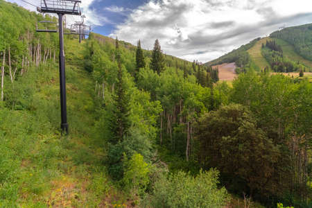 Mountain covered with rich green trees during summer in Park City ski resort