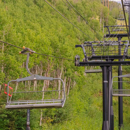 Square Chairlifts on cables over ski mountain with thick green trees during off season Zdjęcie Seryjne