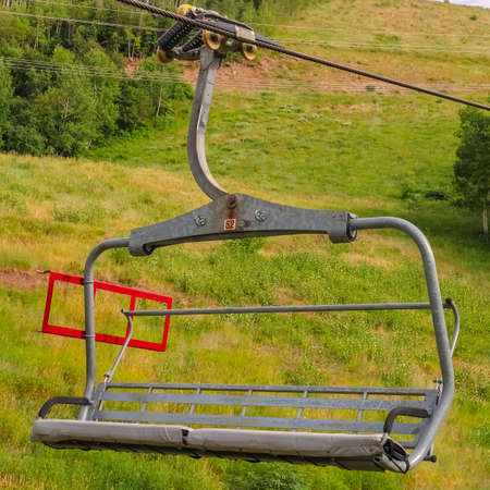 Square Scenic off season landscape with chairlifts and trails in Park City Utah