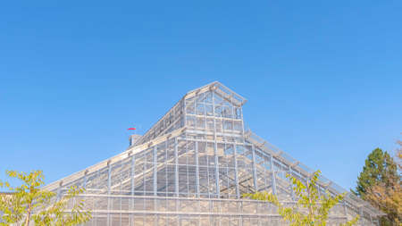 Panorama Exterior of a greenhouse with roof made of glass panels against blue sky Zdjęcie Seryjne