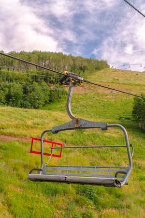 Scenic off season landscape with chairlifts and trails in Park City Utah