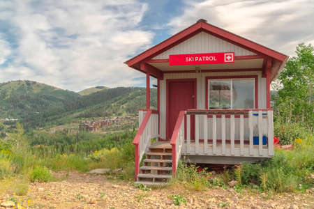 Ski Patrol station on a mountain in Park City Utah viewed during summer months Zdjęcie Seryjne