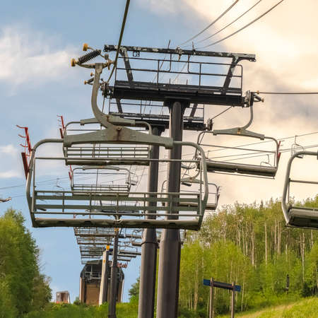 Square Hiking trails and chairlifts on a sceneic summer landscape in Park City Utah Zdjęcie Seryjne