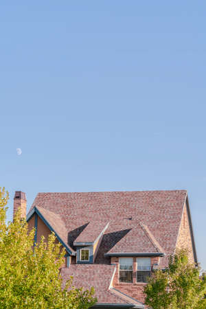 Steeply pitched house roof with dormer windows viewed past leafy green trees under a sunny blue sky