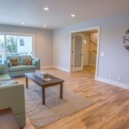 Square Living room in model home in southern California ready for a real estate shoot