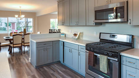 Panorama frame Model home kitchen in southern California ready for a real estate shoot