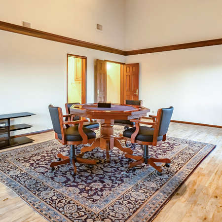 Square Bright, open and warm bonus room with vaulted ceilings wide open. Wonderful California home in San Diego county. Real estate listings with powerful visuals. Stock Photo