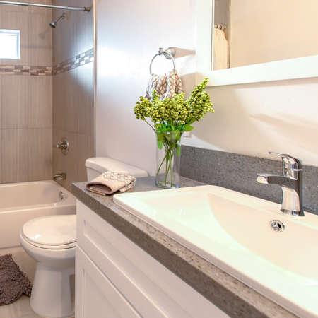 Las casas modelo de marco cuadrado siempre lucen hermosos baños con un diseño inteligente Foto de archivo