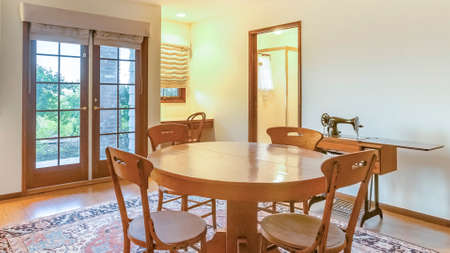 Panorama Bonus room with table and other amenities with large rug. Wonderful California home in San Diego county. Real estate listings with powerful visuals.