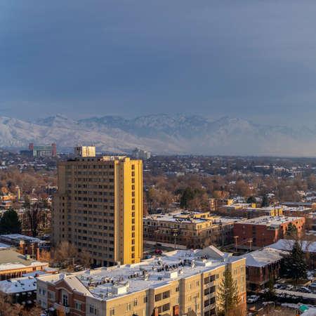 Square frame Salt Lake City panorama in winter day light