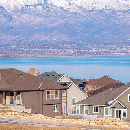 Square frame Modern housing estate overlooking the Utah Lake