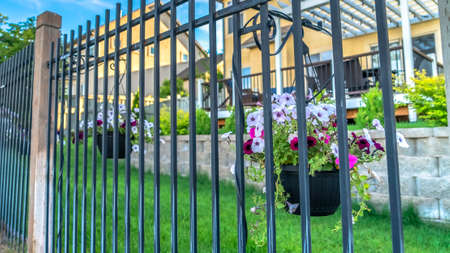 Panorama Valla de metal negro con coloridas flores en macetas contra casas borrosas y cielo azul. Cercado en el exterior de una casa con patio de césped y pérgola de madera en la terraza.