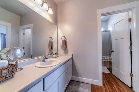 Vanity area of bathroom with door that leads to the toilet bathtub and shower. White wall, window, and brown wood floor can also be seen inside the room.