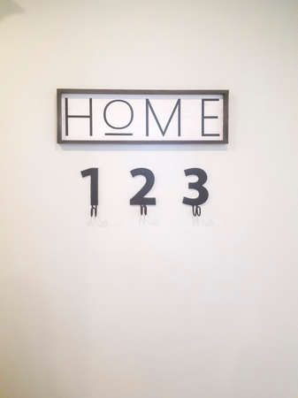 Close up of wall decoration that reads Home over number decors with hooks