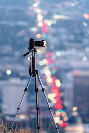 Camera on a tripod above Salt Lake City Stock Photo