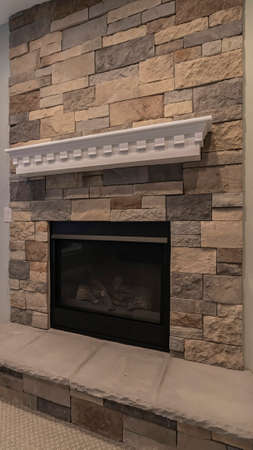 Vertical Modern fireplace and decorative shelf against stone brick accent wall of home