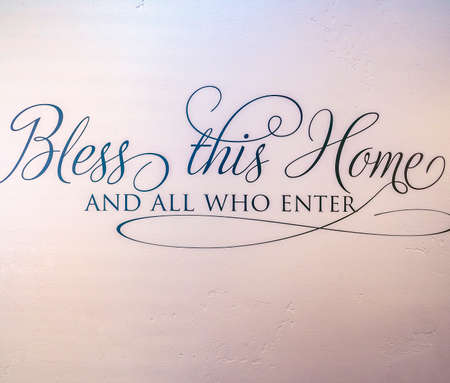 Square frame Religious welcome sigh Bless this home interior