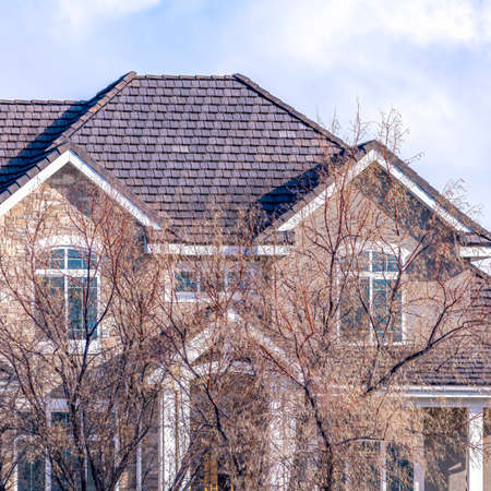 Square Brown leafless trees in front of luxurious family home against cloud filled sky. The house has a combination of hip and gable roofs over dormers, porch, and entrance.