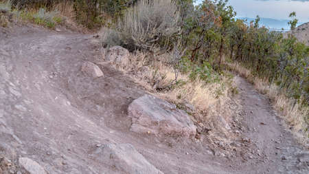 Panorama Rural hiking path making a sharp U-turn through scrub and bush viewed at a tilted angle
