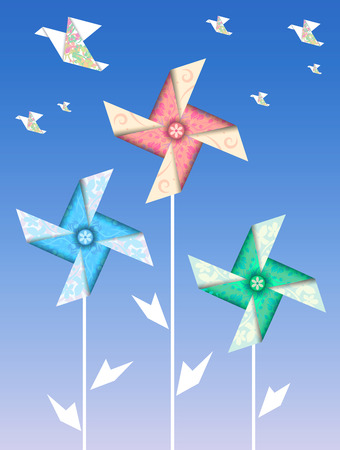 Origami colorful weather vanes and cranes Illustration