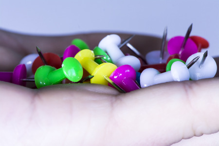 thumbtacks board Stock Photo