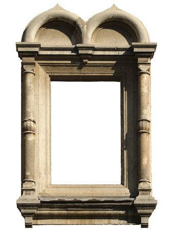 Isolated window with decorative masonry in Pseudo-Russian, Byzantine style. Фото со стока
