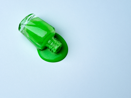 Spilled green nail polish.
