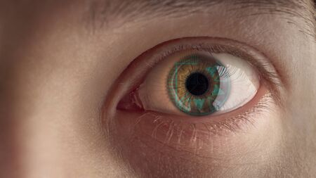 Male eye with HUD. Banque d'images - 124705950