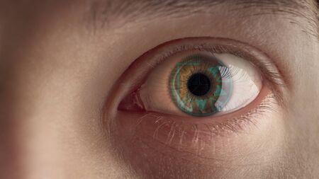 Male eye with HUD. Banco de Imagens