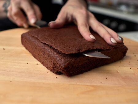 Step-by-step preparation of black designer cake.