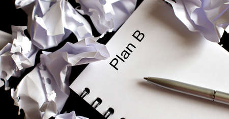 Business Words on notepad, business tex Plan B and pen