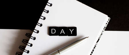 Business Words on notepad. Work business tex Day with pen Stockfoto